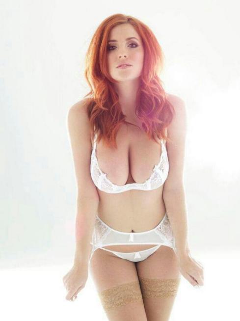 white lingerie redhead