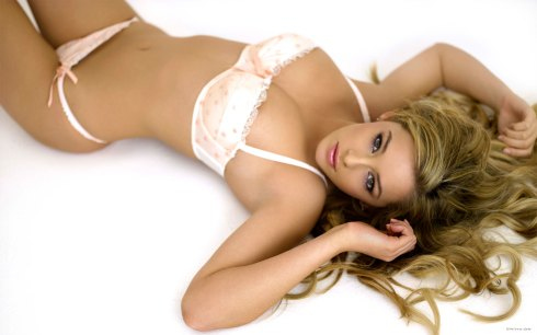 russian blonde in pink lingerie