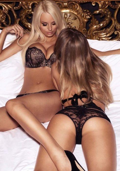 black lingerie gals