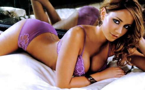 girl in purple lingerie