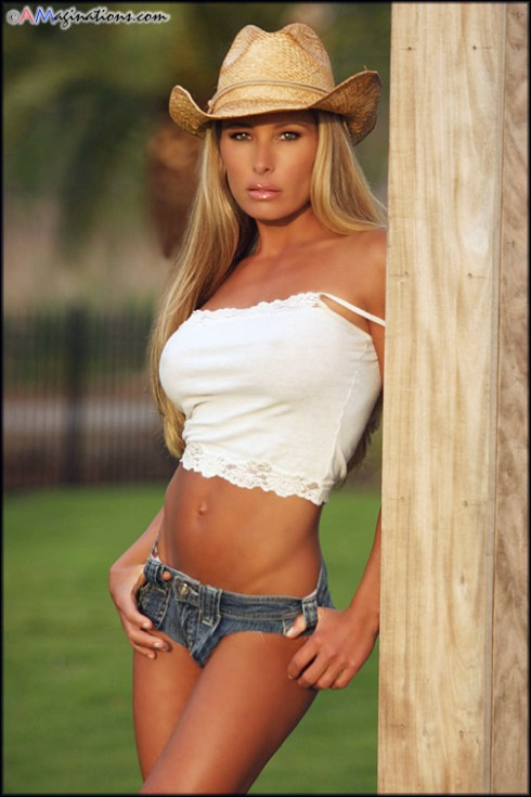 blonde in cutoffs