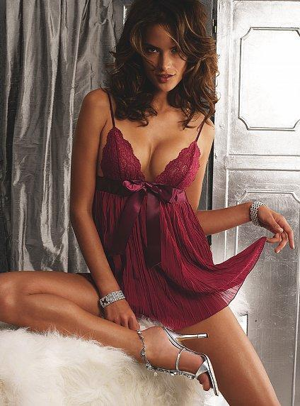VS gal in burgundy teddy