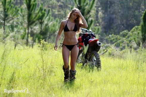 bikini gal with dirt bike